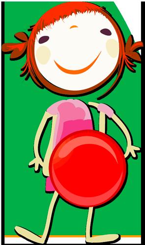 Barne figur med rød ball